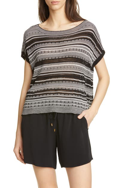 Eileen Fisher Sweaters STRIPE SHORT SLEEVE ORGANIC COTTON BLEND SWEATER