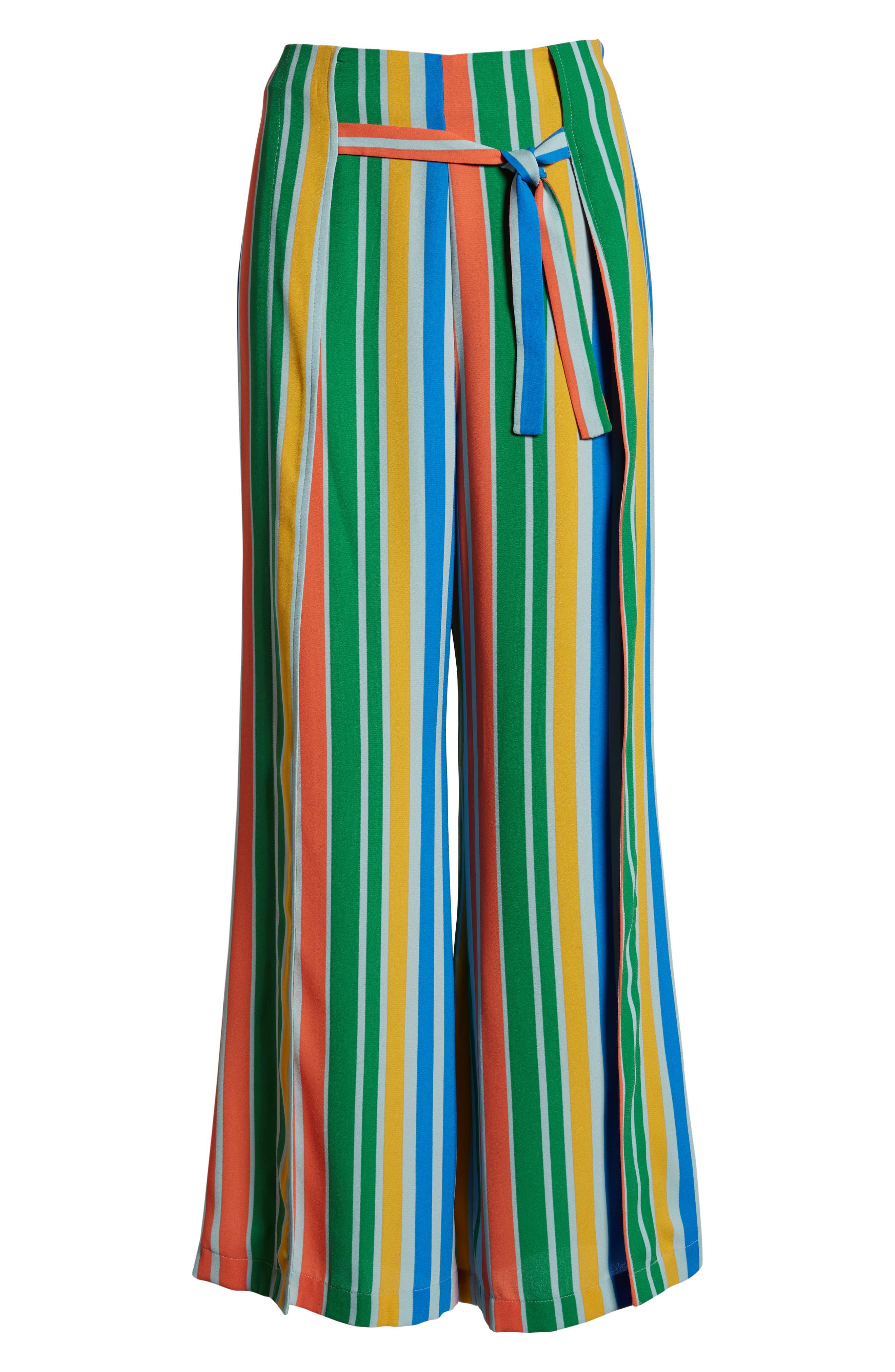 ,                             Tie Front Wide Leg Pants,                             Alternate thumbnail 9, color,                             BLUE FRENCH MULTI STRIPE