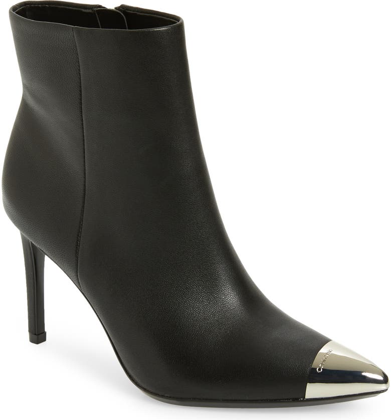 CALVIN KLEIN Ravie Pointy Cap Toe Bootie, Main, color, BLACK NAPPA LEATHER