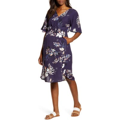 Angel Maternity In Bloom Drawstring Maternity/nursing Dress, Blue