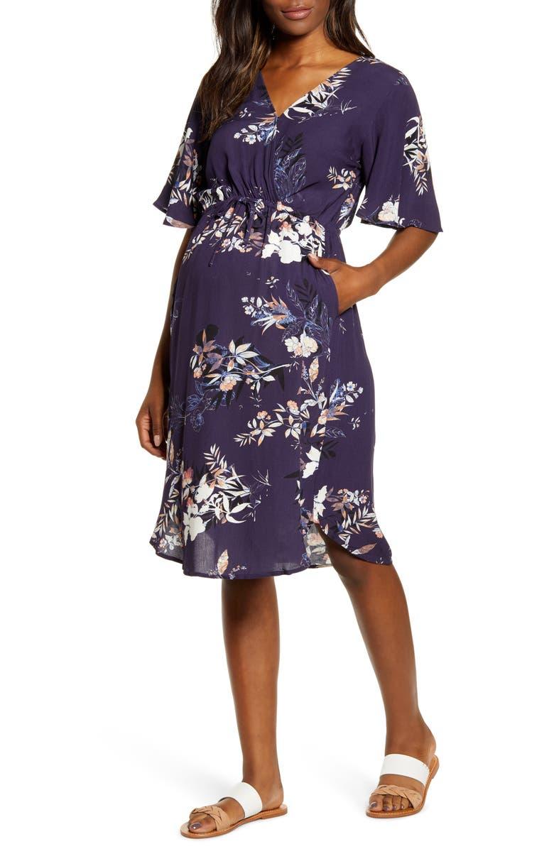 ANGEL MATERNITY In Bloom Drawstring Maternity/Nursing Dress, Main, color, NAVY FLORAL PRINT