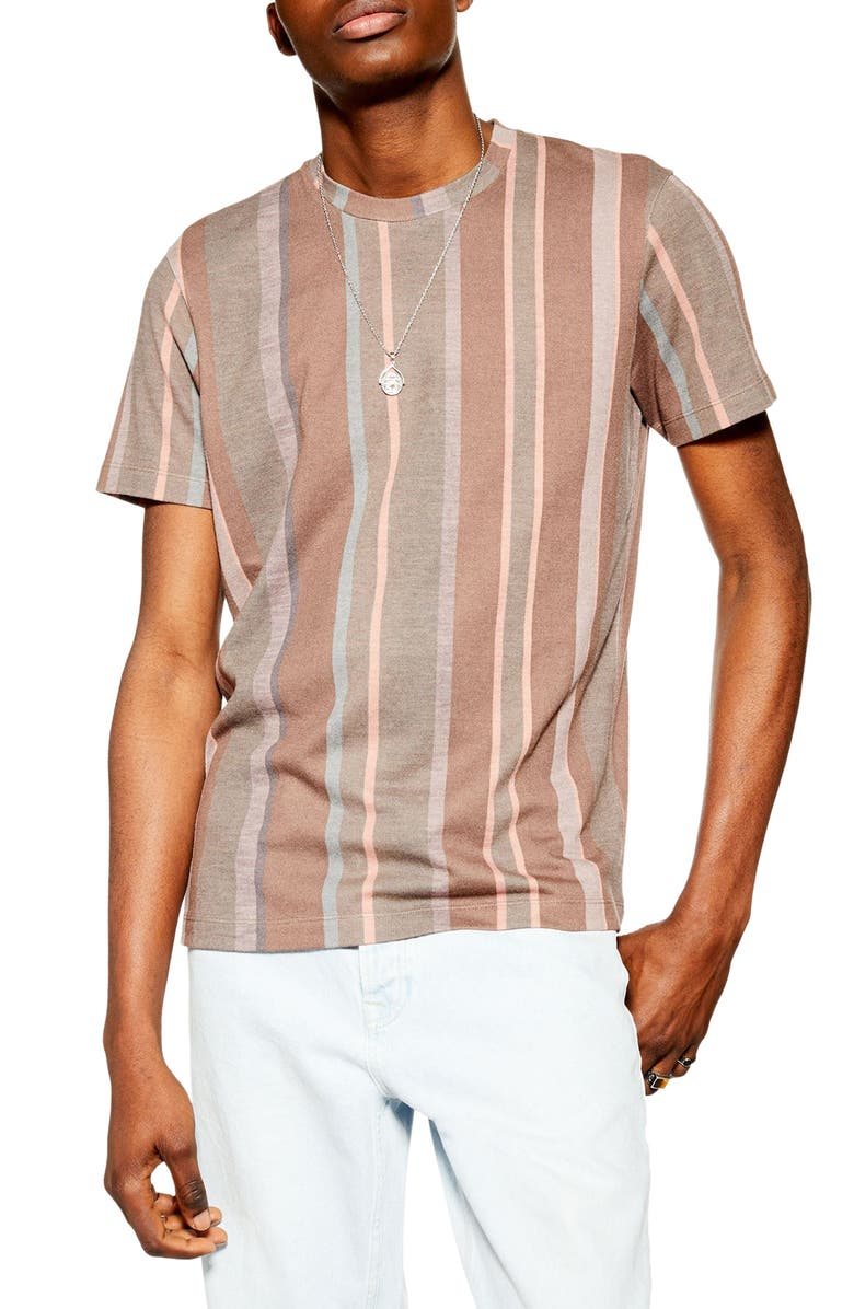 TOPMAN Stripe Classic Fit T-Shirt, Main, color, BROWN MULTI