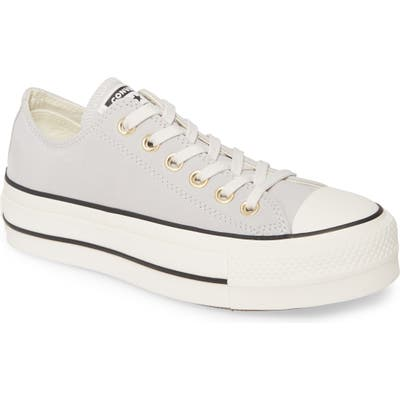 Converse Chuck Taylor All Star Lift Nubuck Leather Sneaker, Grey