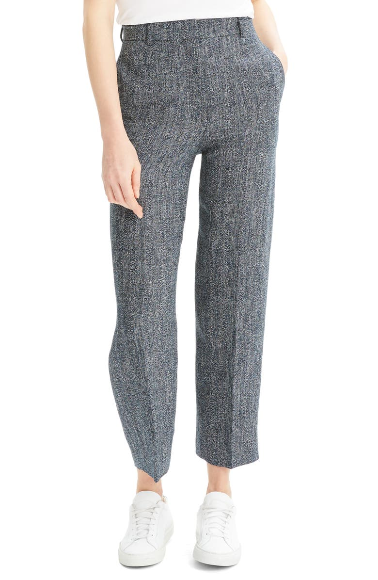 THEORY Linen Blend Ankle Pants, Main, color, NAVY MULTI