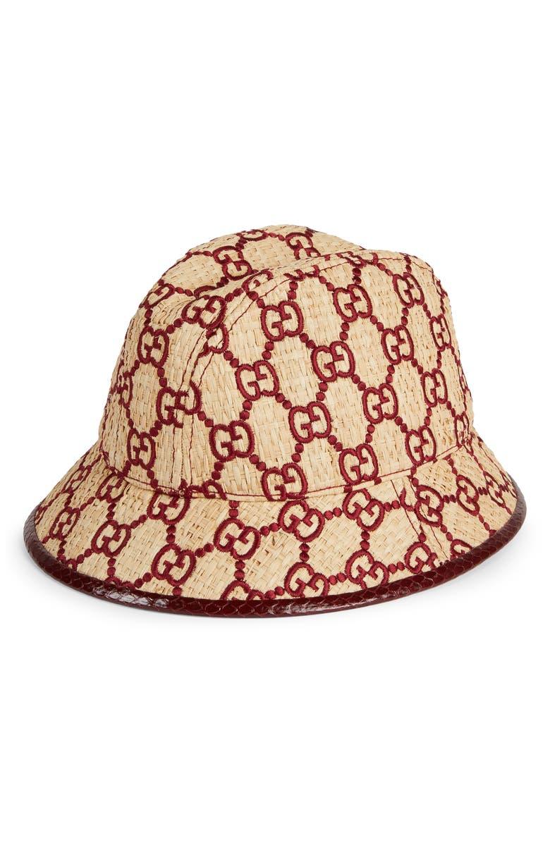 GUCCI Basmaa Genuine Snakeskin Trim GG Embroidered Raffia Hat, Main, color, IVORY/ BORDEAUX