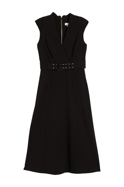 Image of Calvin Klein Surplice Belted Midi Dress