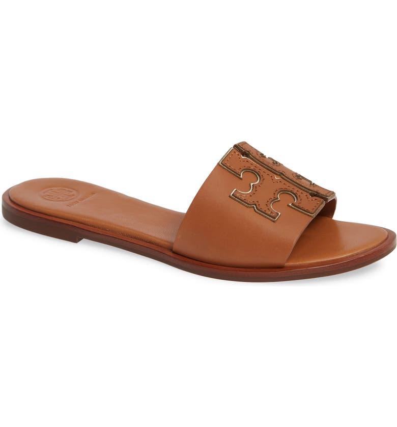 TORY BURCH Ines Slide Sandal, Main, color, TAN / SPARK GOLD