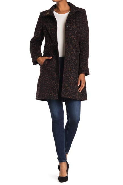 Image of Via Spiga Stand Collar Front Button Leopard Print Coat