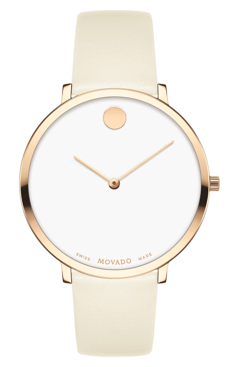 MOVADO Ultra Slim Special Edition Leather Strap Watch, 35mm, Main, color, BEIGE/ WHITE/ CARNATION GOLD