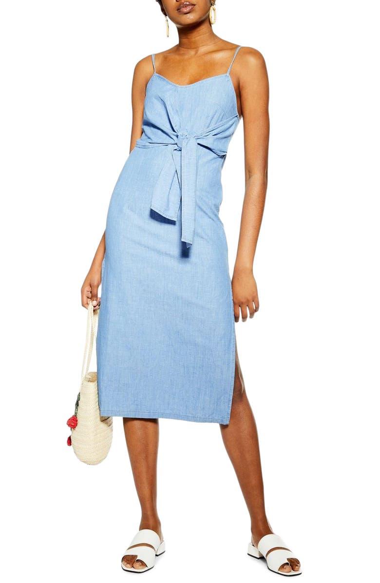 TOPSHOP Tie Denim Midi Dress, Main, color, MID DENIM