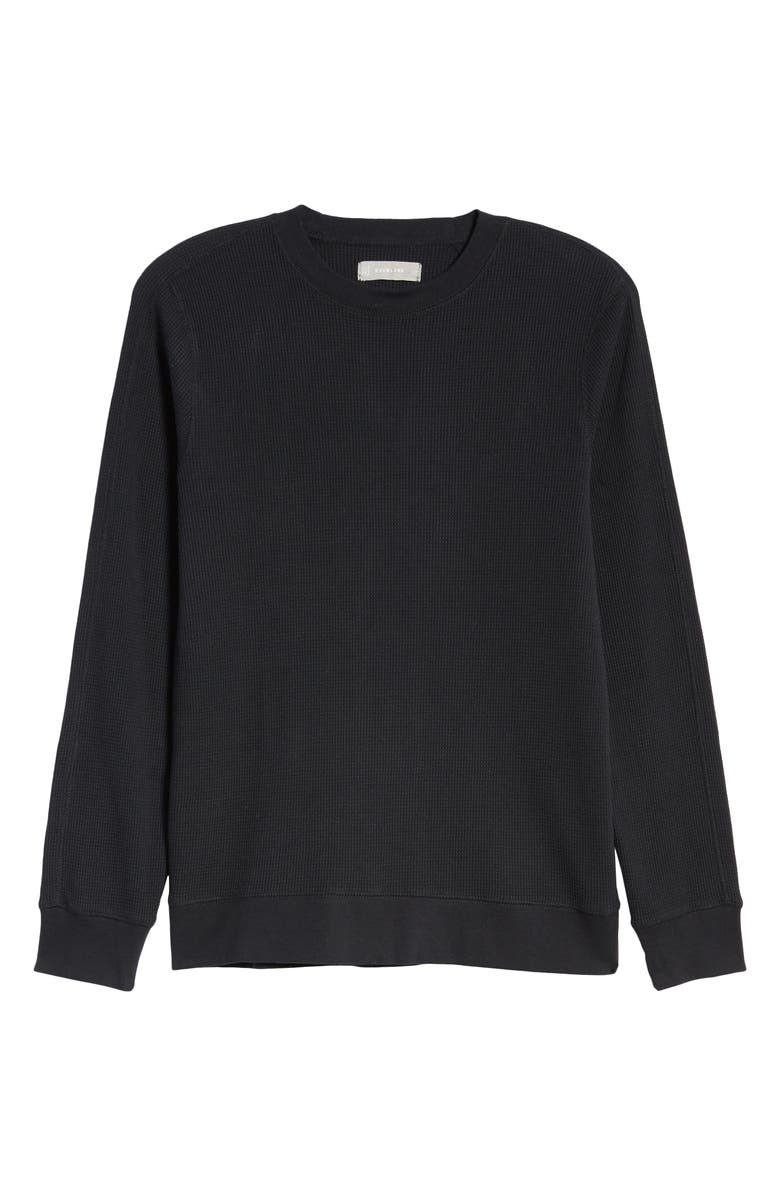 EVERLANE The Waffle Knit Crew T-Shirt, Main, color, BLACK
