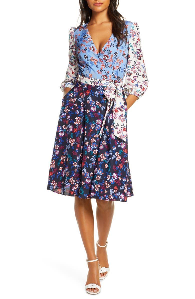 Colorblock Floral Faux Wrap Dress by 1901
