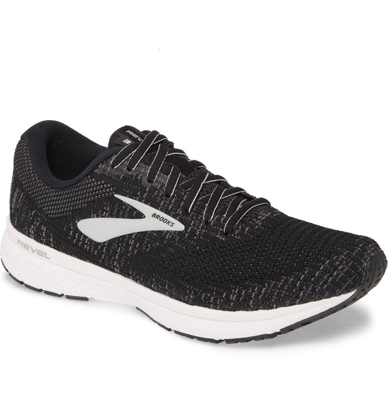 BROOKS Revel 3 Running Shoe, Main, color, BLACK/ PEARL/ WHITE