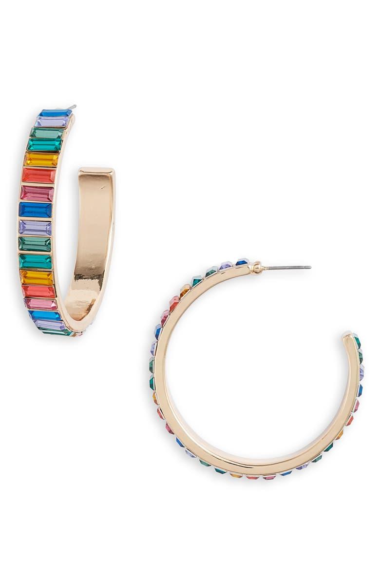 8 OTHER REASONS Ultralight Crystal Hoop Earrings, Main, color, 710