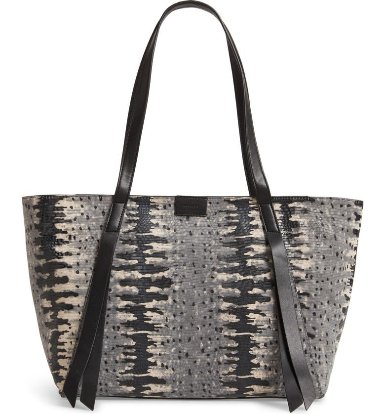ALLSAINTS Holston East West Leather Tote, Main, color, GREY MULTI