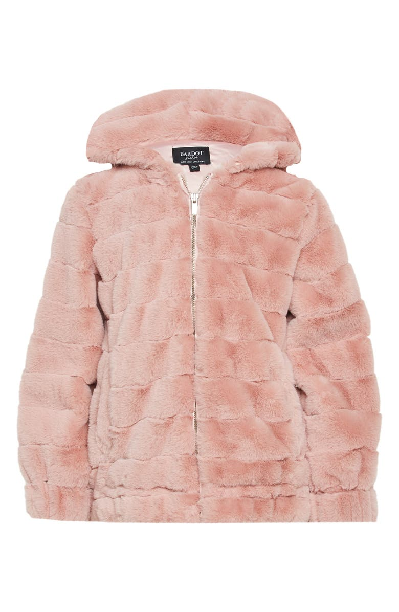 BARDOT JUNIOR Faux Fur Jacket, Main, color, BLUSH