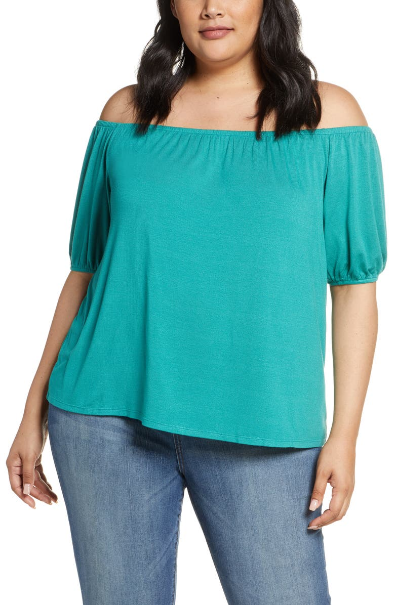 GIBSON x Hot Summer Nights Natalie Off The Shoulder Puff Sleeve Tee, Main, color, 300