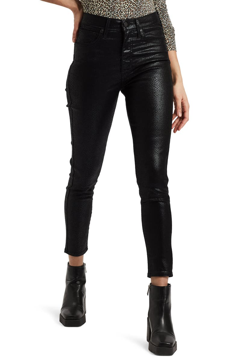 LEVI'S<SUP>®</SUP> Mile High Ankle Skinny Jeans, Main, color, BLACK SERPENT FOIL