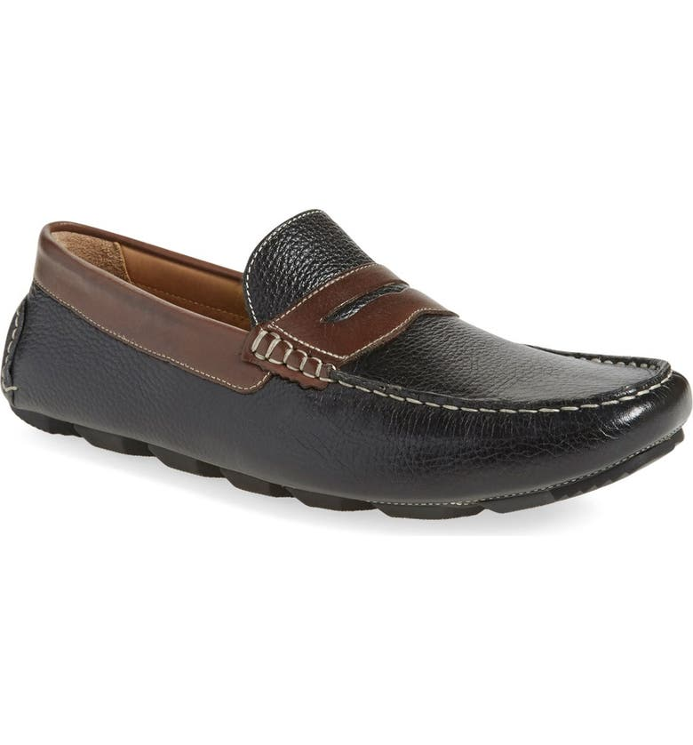 1901 Bermuda Penny Loafer, Main, color, BLACK/ BROWN LEATHER