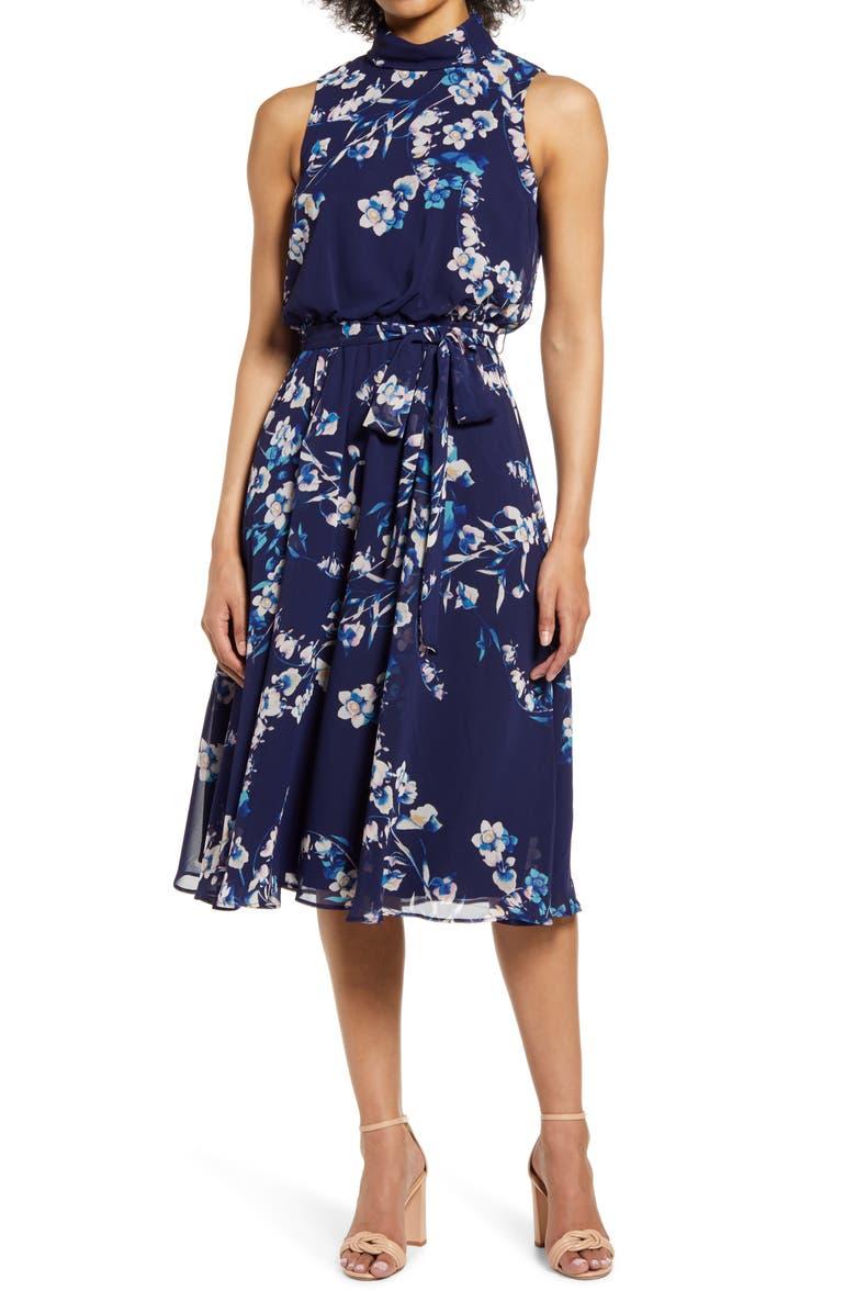 HARPER ROSE Sleeveless Tie Waist Chiffon Dress, Main, color, NAVY