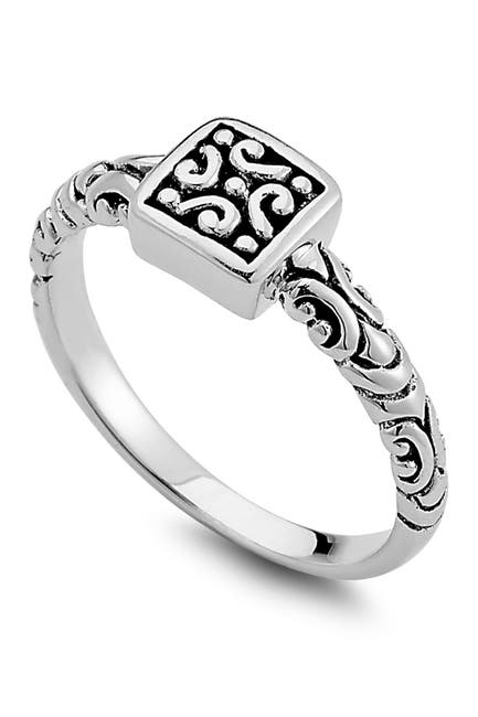Image of Samuel B Jewelry Sterling Silver Filigree Square Ring
