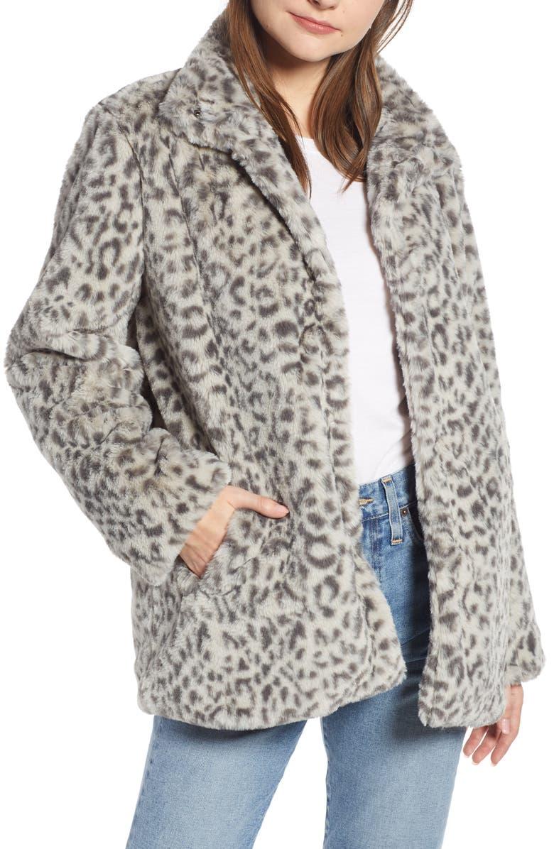 SOMETHING NAVY Faux Fur Midi Coat, Main, color, LIGHT GREY LEOPARD