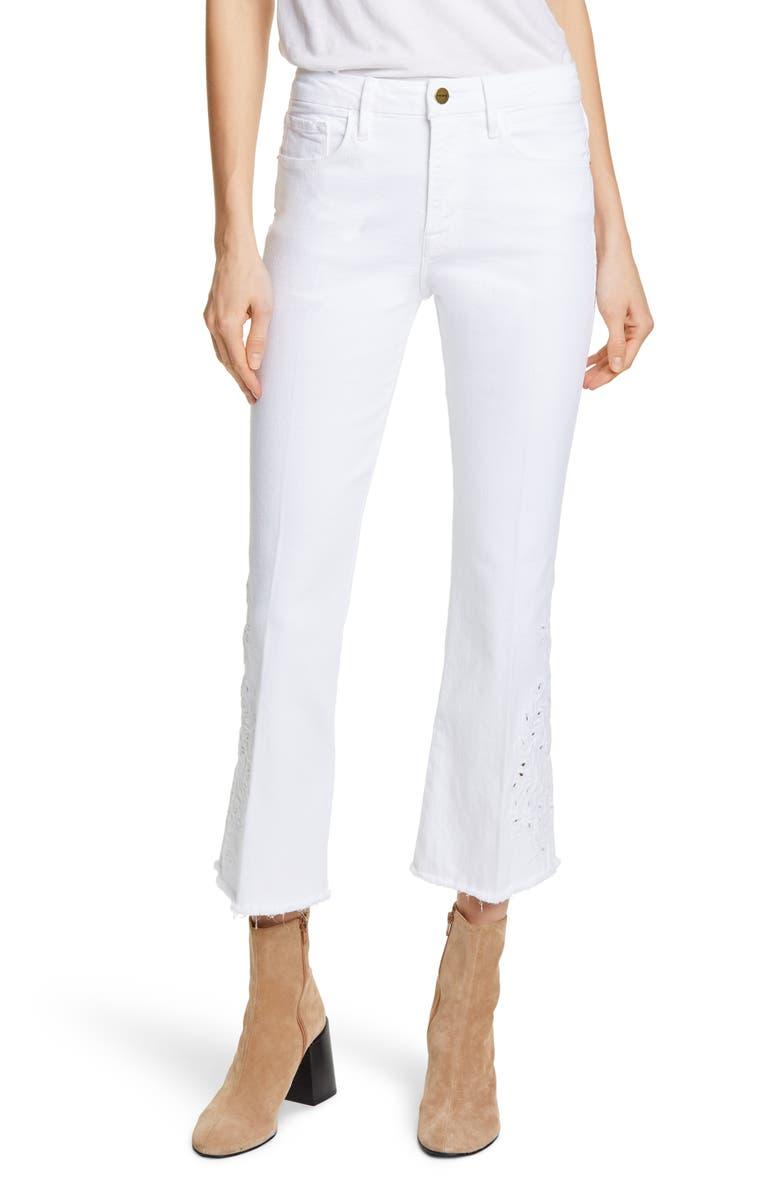 FRAME Le Skinny de Jeanne Foliage Jeans, Main, color, BLANC