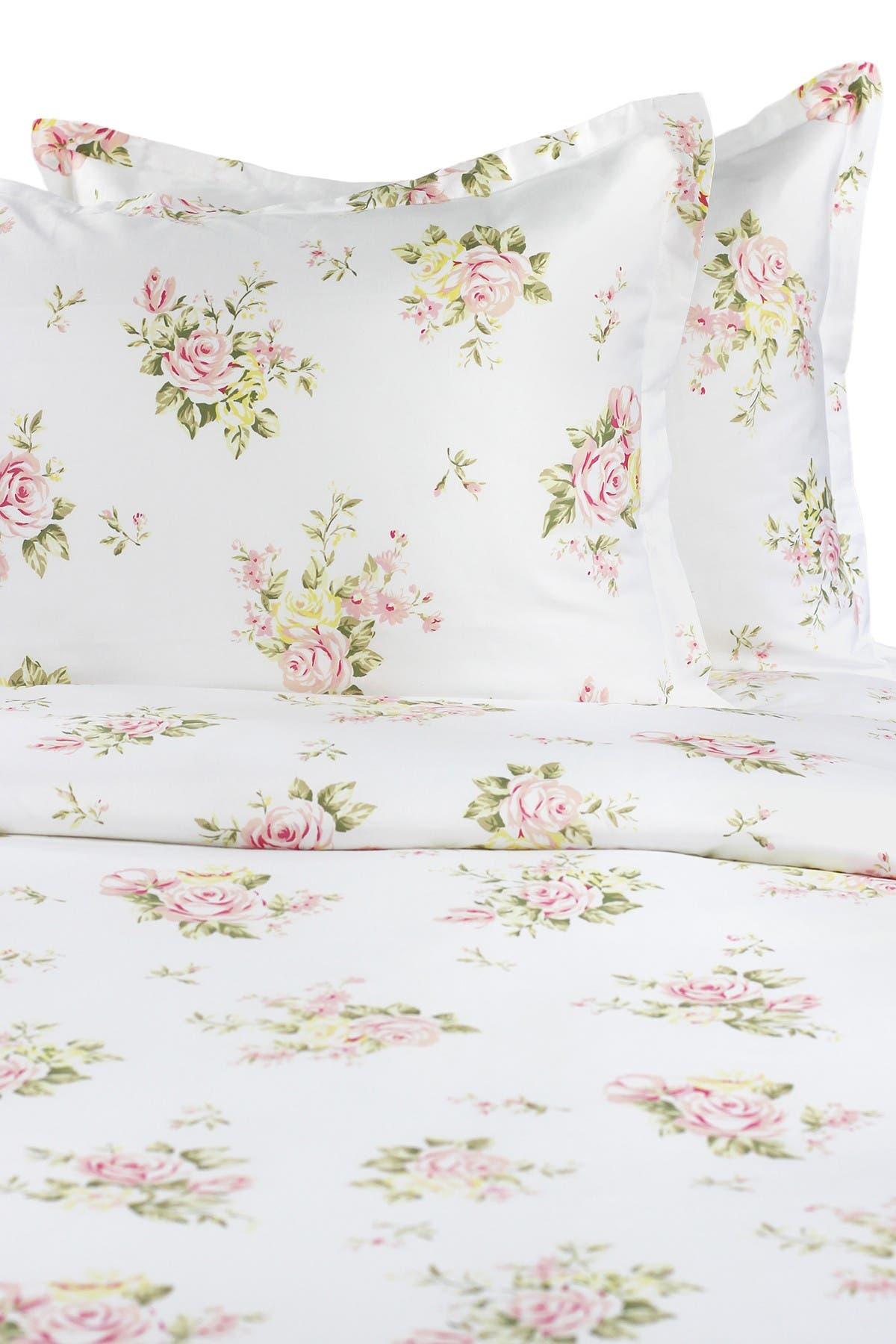 Image of Melange Home Full/Queen 400 Thread Count Cotton Rose Bouquet Duvet Set - White/Pink