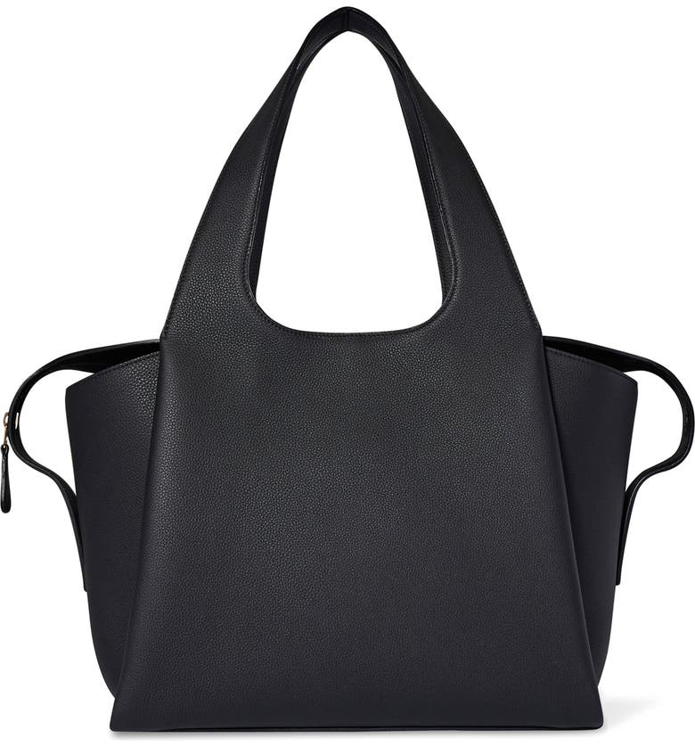 THE ROW Large TR1 Leather Bag, Main, color, BLACK