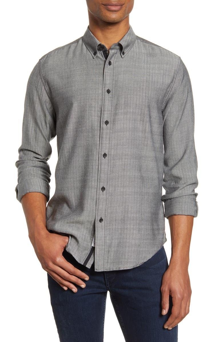 RAG & BONE Fit 2 Tomlin Slim Fit Herringbone Button-Down Shirt, Main, color, BLACK WHITE