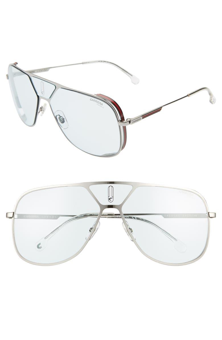CARRERA EYEWEAR 60mm Polarized Navigator Sunglasses, Main, color, RUTHENIUM BLUE