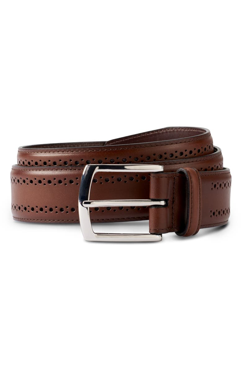 ALLEN EDMONDS Manistee Brogue Leather Belt, Main, color, COFFEE
