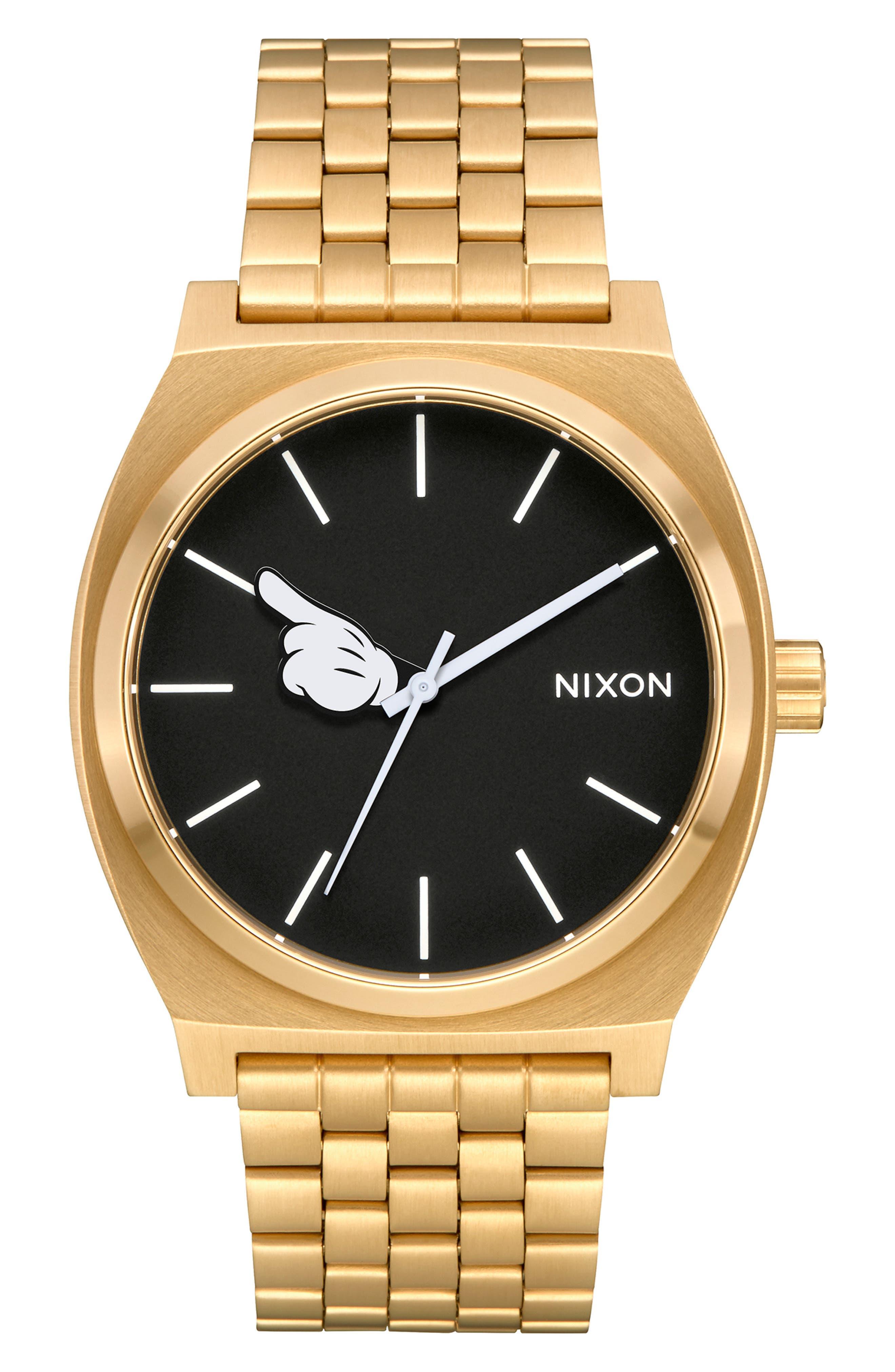 ,                             x Disney Time Teller Mickey Bracelet Watch, 37mm,                             Main thumbnail 1, color,                             GOLD/ BLACK/ GOLD