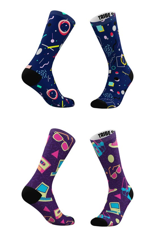 TRIBE SOCKS Socks ASSORTED 2-PACK '80S TOTALLY TECH & FUNKY CREW SOCKS