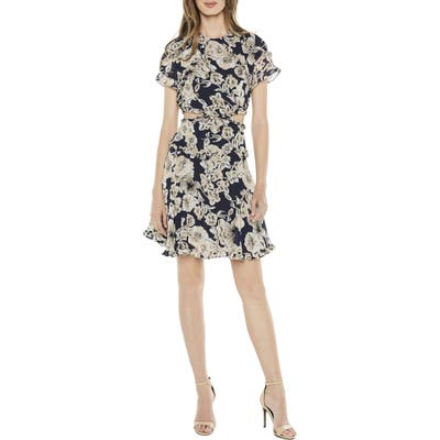 Bardot Brianna Floral Print Cutout Dress, Blue