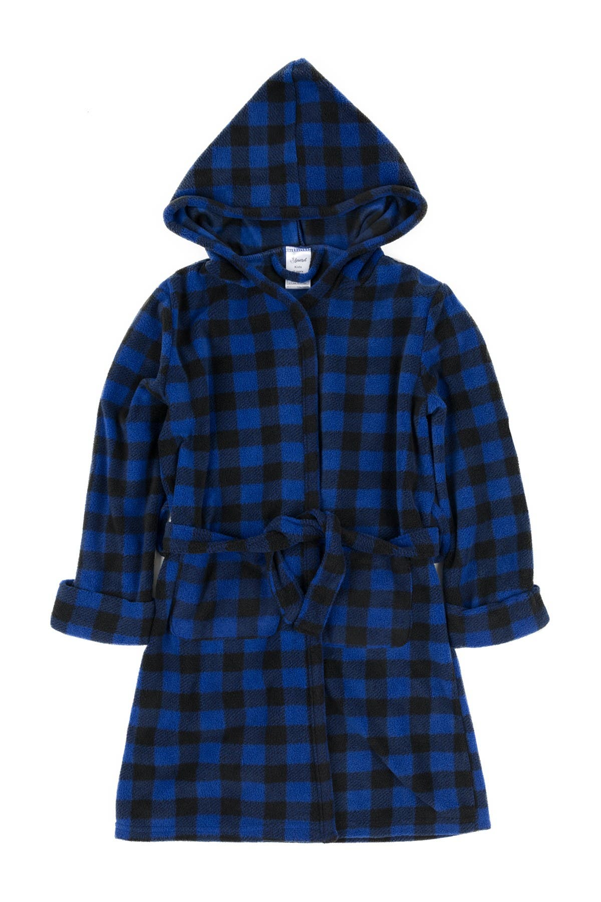 Image of Leveret Navy and Black Plaid Fleece Robe