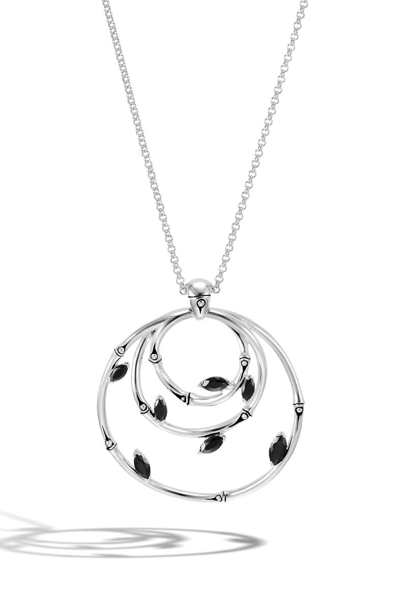 JOHN HARDY Bamboo Spinel Pendant Necklace, Main, color, SILVER/ BLACK SPINEL