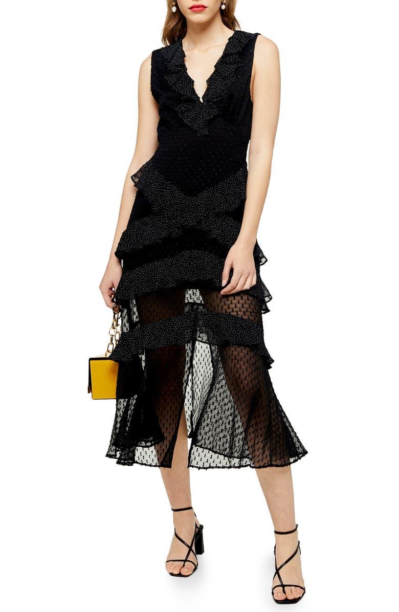 TOPSHOP Spot Ruffle Midi Dress, Main, color, BLACK