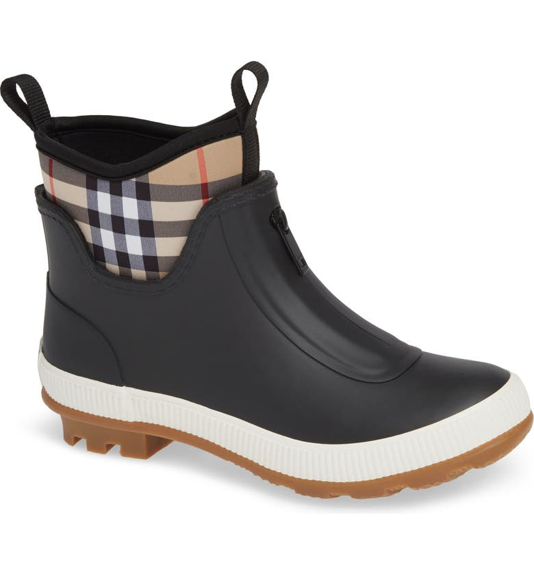 BURBERRY Flinton Rain Boot, Main, color, BLACK