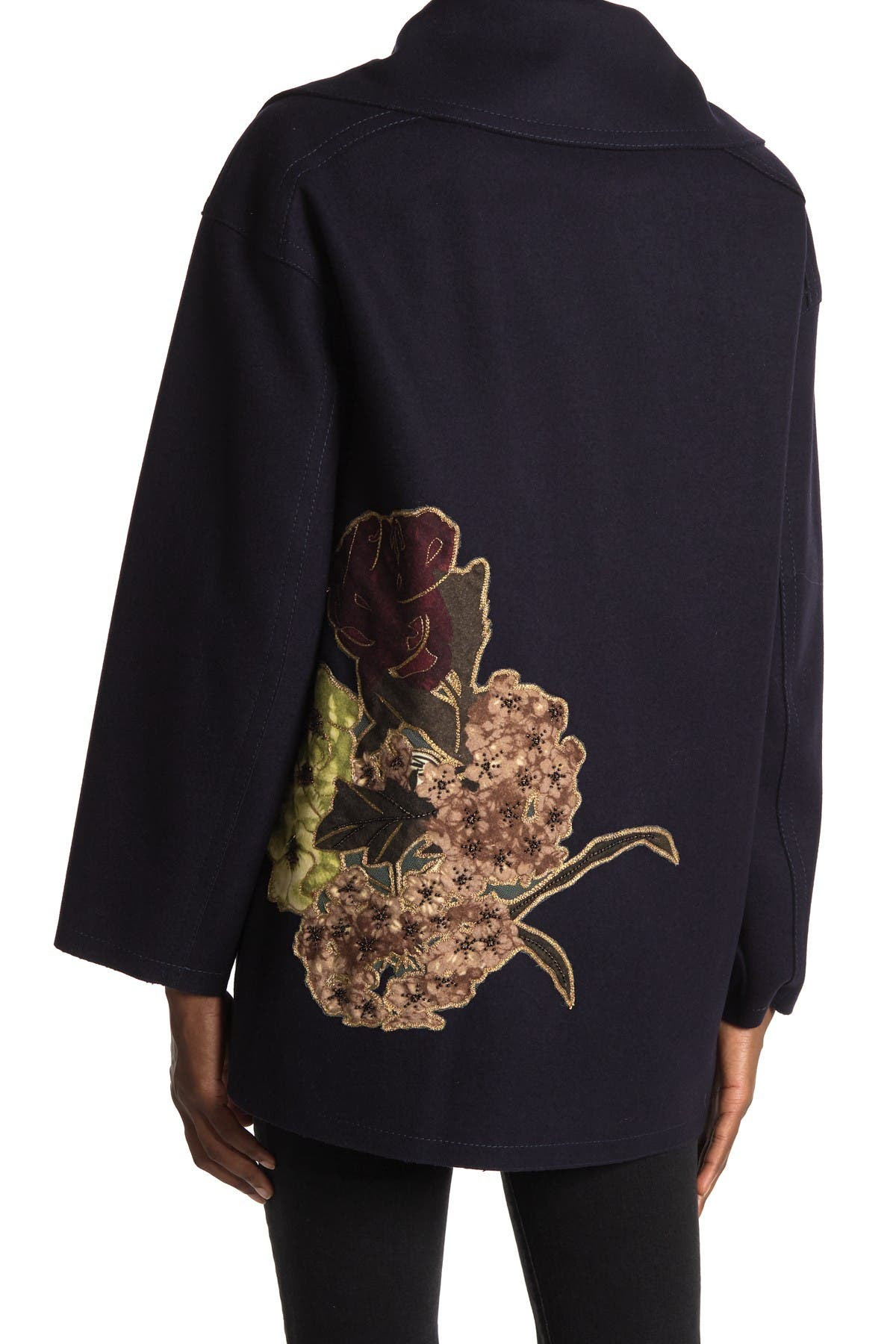 Image of Valentino Caban Floral Embellished Double-Breasted Coat
