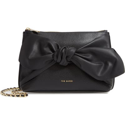 Ted Baker London Darnna Soft Knot Leather Clutch - Black