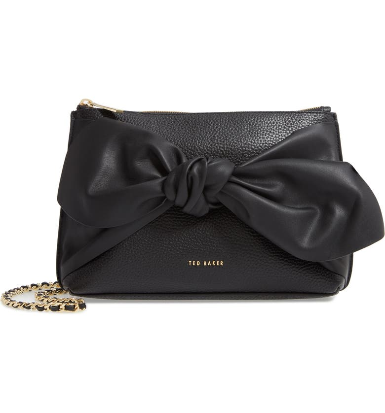 TED BAKER LONDON Darnna Soft Knot Leather Clutch, Main, color, 001