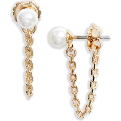 Halogen Imitation Pearl Chain Drop Earrings