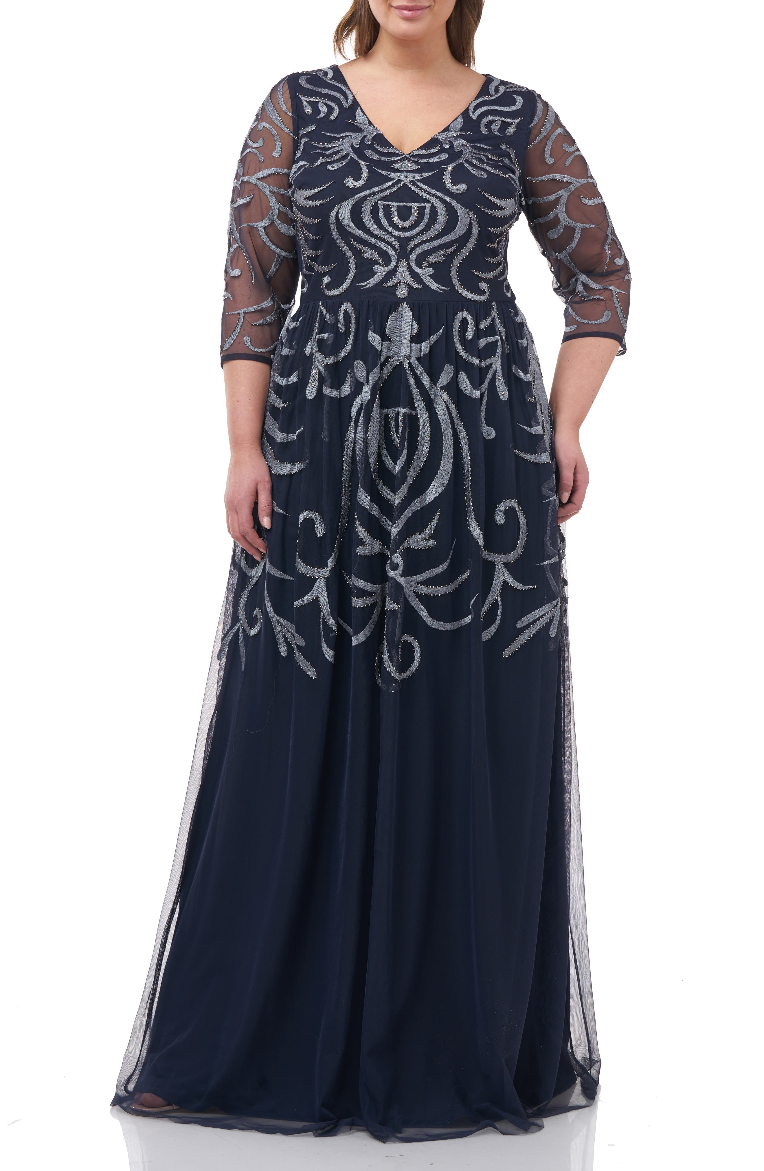 Victorian Plus Size Dresses | Edwardian Clothing, Costumes Plus Size Womens Js Collections Embellished Chiffon Gown Size 14W - Blue $129.97 AT vintagedancer.com