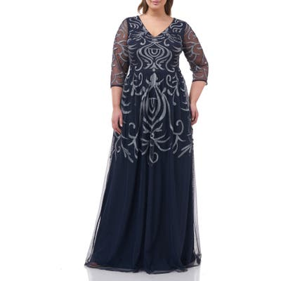 Plus Size Js Collections Embellished Chiffon Gown, Blue