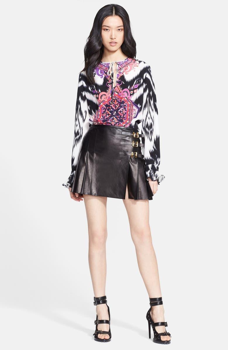 EMILIO PUCCI Leather Miniskirt, Main, color, Black