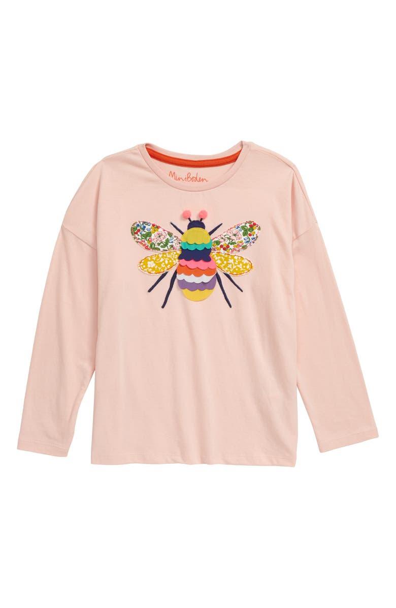 MINI BODEN Big Appliqué T-Shirt, Main, color, PROVENCE DUSTY PINK BEE