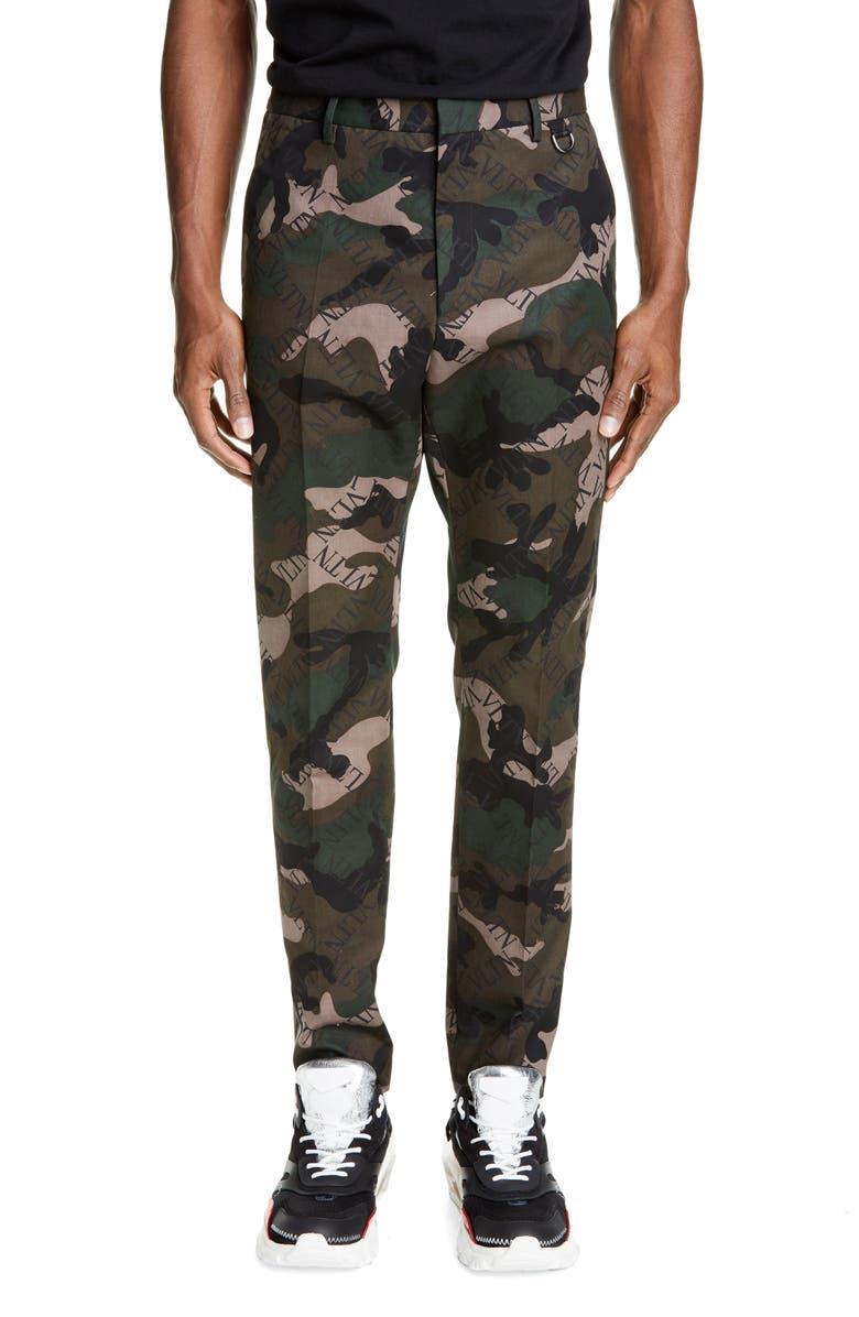 VALENTINO VLTN Camo Slim Fit Pants, Main, color, CAMO