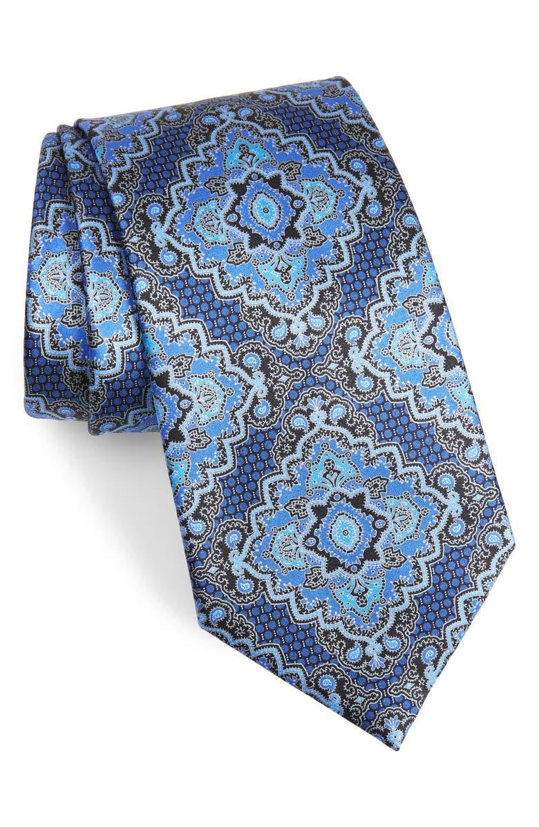 ERMENEGILDO ZEGNA Paisley Silk Tie, Main, color, BLUE