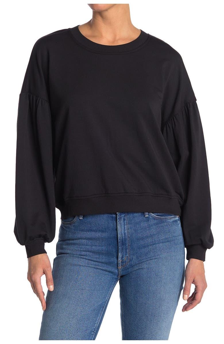 UGG Adlin Puff Sleeve Sweatshirt, Main, color, BLACK